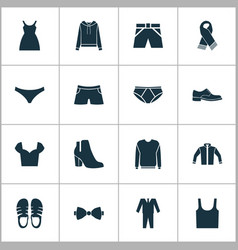 Dress icons set with sweatshirt jacket male vector