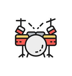 drum kit musical instrument flat color line icon vector image