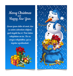 dual vertical card with snowman with bag gifts vector image