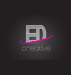 Ed e d letter logo with lines design and purple vector