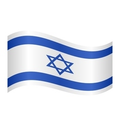Flag of Israel waving on white background vector image