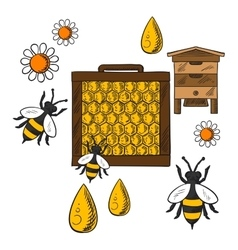 Flat beekeeping concept with beehive and bees vector