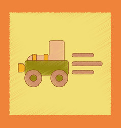 Flat shading style icon kids tractor vector
