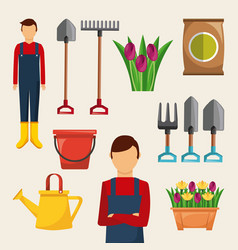 gardening set of icons gardener tools flowers sack vector image