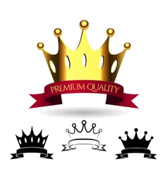 Golden crown with a red ribbon isolated on white vector