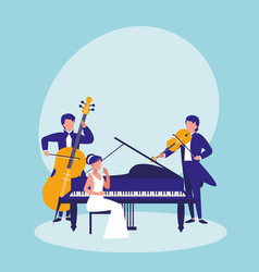 group of people playing instruments musical vector image