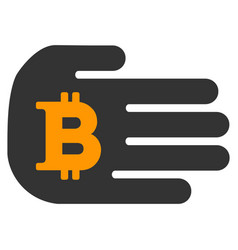 Hand give bitcoin flat icon vector