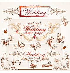 Hand Made Wedding Card Set vector image
