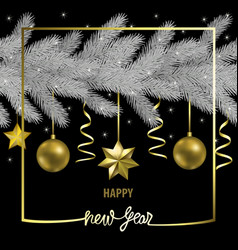 Happy new year greeting card with christmas tree vector