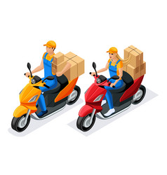 Isometric man and woman in uniform ride on scooter vector
