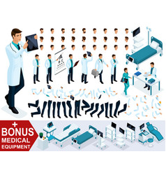 isometrics for creating your 3d character doctor vector image