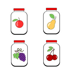 Jars of jam juice or jam banks with fruit on a vector
