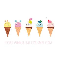 kawaii ice cream cone characters cute cartoons vector image