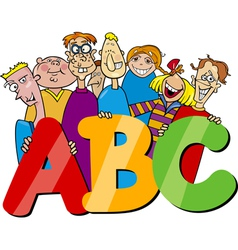 Kids with abc letters cartoon vector
