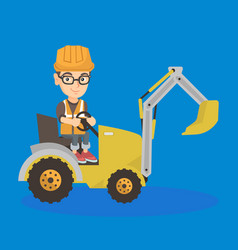 little caucasian builder kid driving an excavator vector image