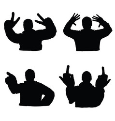 man silhouette set in various poses design vector image
