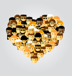 many people in form heart vector image