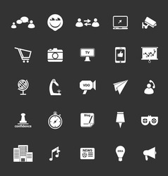 Media marketing icons on gray background vector