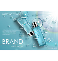 Moisture cosmetic tubes banner ads skin care vector