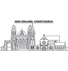 new zealand christchurch line skyline vector image