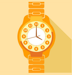 orange wrist watch icon flat style vector image