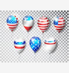 patriotic balloons usa set colored balloons vector image