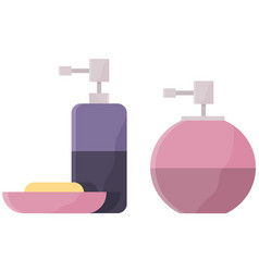 pump bottles and piece soap cosmetic products vector image