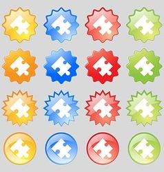 Puzzle piece icon sign big set of 16 colorful vector