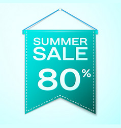realistic green pennant with summer sale eighty vector image