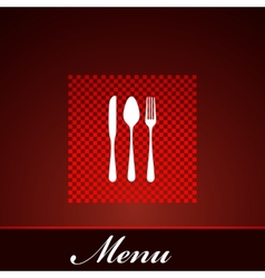 restaurant menu design with knife spoon and fork vector image