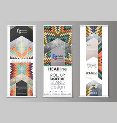 Roll up banner stands abstract design geometric vector