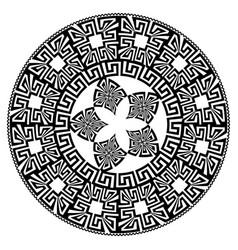 round mandala pattern black greek key vector image