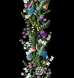 Seamless border with wild flowers vector