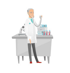 senior caucasian doctor holding a stethoscope vector image