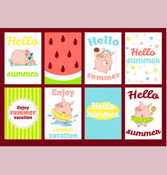set of banners with cute pigs vector image
