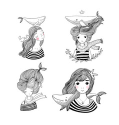 set of cute cartoon little mermaid siren sea vector image