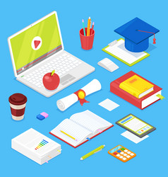 set of student accsessories vector image