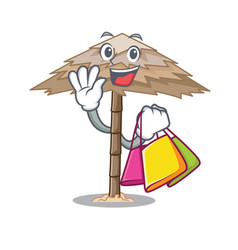 Shopping character tropical sand beach shelter vector