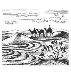 sketch caravan vector image