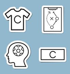 Soccer line icon set vector