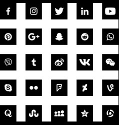 social media black square icons set vector image