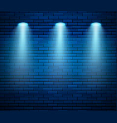 spotlight against brick wall in blue color empty vector image