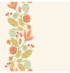 spring flowers and berries vertical seamless vector image