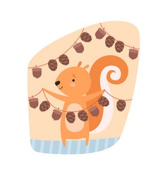Squirrel engaged in hanging acorns on rope vector