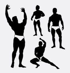 Strong and healthy man sport silhouette vector
