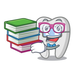 Student with book toys braces in mascot box vector