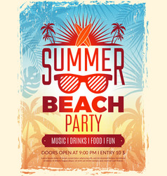Summer retro poster vacation tropical beach vector