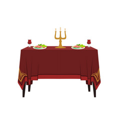 table in restaurant for two people banquet table vector image