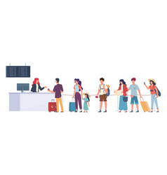 tourists in queue air flight check passengers vector image