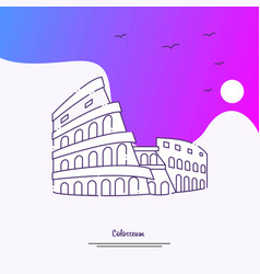 travel colosseum poster template purple creative vector image